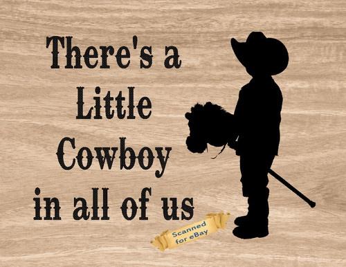 Western Cowboy Boots Child Stick Horse Wall Art Decor Print Little Cowboy | eBay