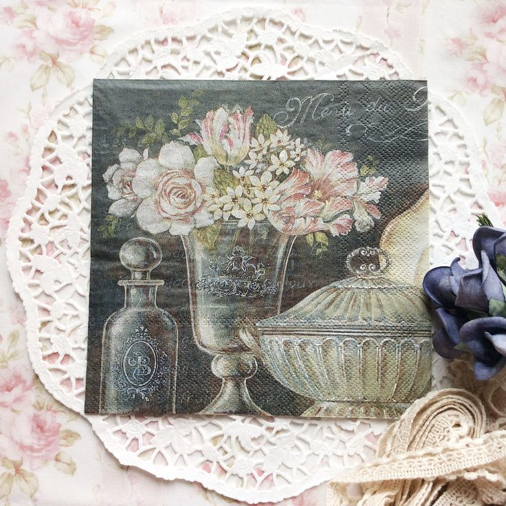 Napkin Papers Serviettens Decoupage Tissue  Black Vase and Perfume 33x33 cm (1/4 folded)  IDR 15.000/pc Send me your inquiry to yufihandcrafted@gmail.com   Shabby Chic Victorian Cottage Vintage Retro Rose Floral Flower Paper Napkins   And get a special discount on bulk order!