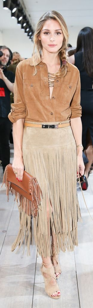 Olivia Palermo in suede and fringe street style #fashion