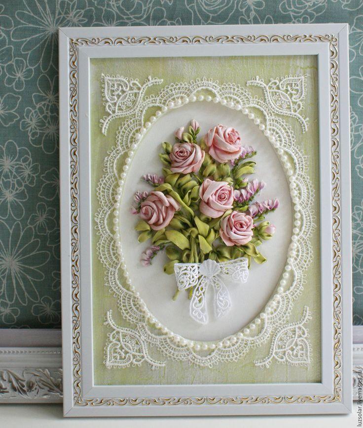 Купить Две миниатюры лентами Букет роз и Ландыши. - Вышивка лентами, картина лентами