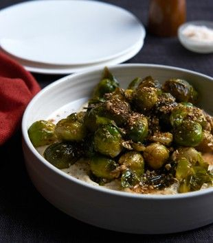 Egyptian roasted Brussels sprouts with honey & dukka - recipe by Karen Martini who is just the BEST!      |     Organize and save your favourite recipes OFFLINE on your iPhone or iPad with @RecipeTin! Find out more here: www.recipetinapp.com      #recipes #vegan