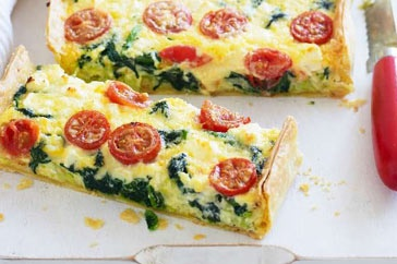 Spinach, Feta & Tomato Slice - Served hot from the oven for dinner, or cold for lunch, this creamy slice is a winner at any time of day.