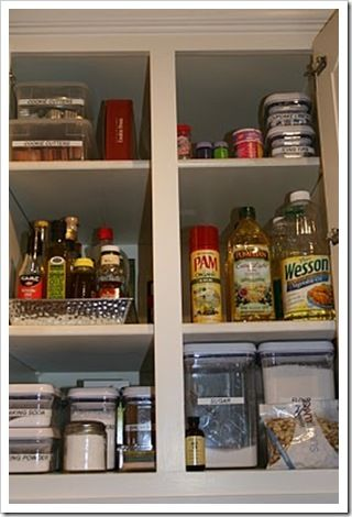 Organized Kitchen Cabinet drawers.    Simply LKJ featured on Honey We're Home.