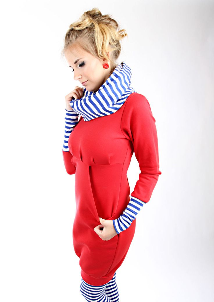 "MEKO ""Leny"" Kleid Rot Royalblau Damen langarm Streifen maritim von mekoStore auf Etsy"