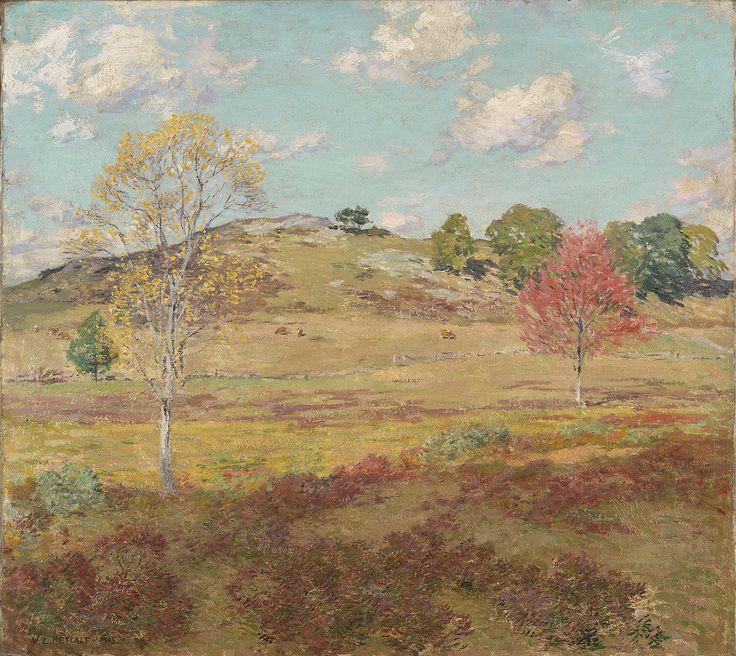 """Early Autumn,"" Willard Leroy Metcalf, 1905, oil on canvas, 32 3/16 x 35 3/16 x 2 5/8"", Yale University Art Gallery."