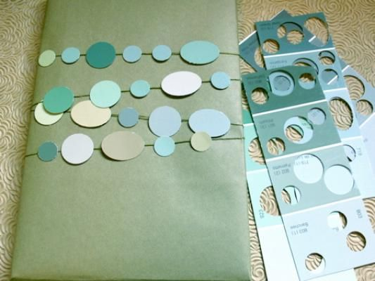 Creative DIY Gift Wrapping Ideas: Use Paintchips! http://thebigclockstore.com/category/blog/