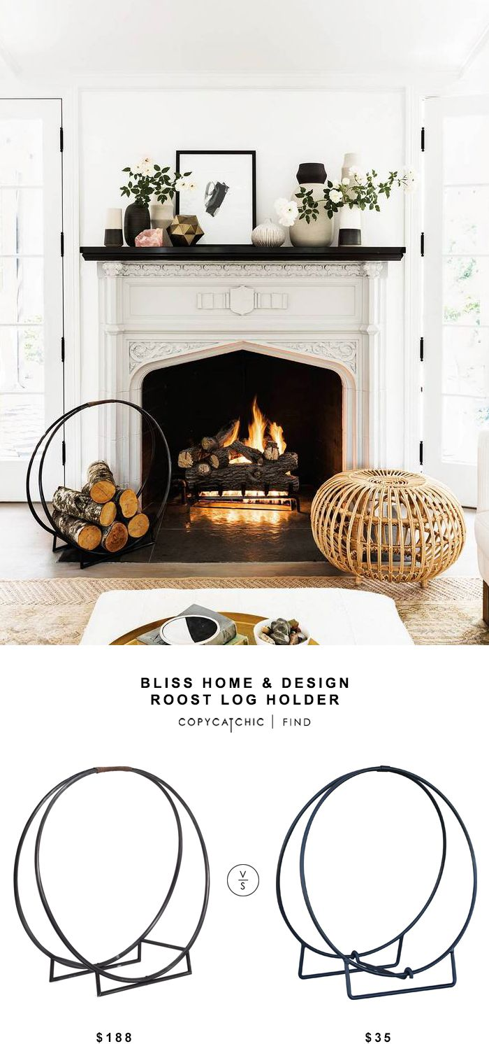 "Bliss Home & Design Roost Log Holder for $188 vs Uniflame 24"" Black Log Hoop for $35 @copycatchic look for less budget home decor and design chic finds. http://www.copycatchic.com/2016/10/roost-log-holder.html?utm_campaign=coschedule&utm_source=pinterest&utm_medium=Copy%20Cat%20Chic&utm_content=Roost%20Log%20Holder"