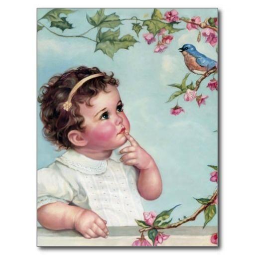 Het kleine kind staart vastbesloten bij Sialia tjilpend op een bloeiende boomtak. Het vintage ontwerp is mooie in zachte aqua en roze kleuren.
