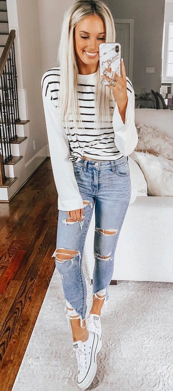 white and black striped long-sleeved shirt #spring #outfits
