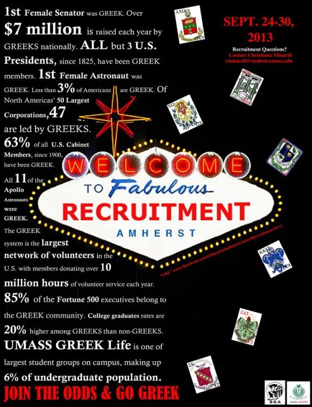 The week you've all been waiting for is finally here! Panhellenic Recruitment 2013 begins tonight, Tuesday September 24th at 7pm in the Student Union Ballroom!