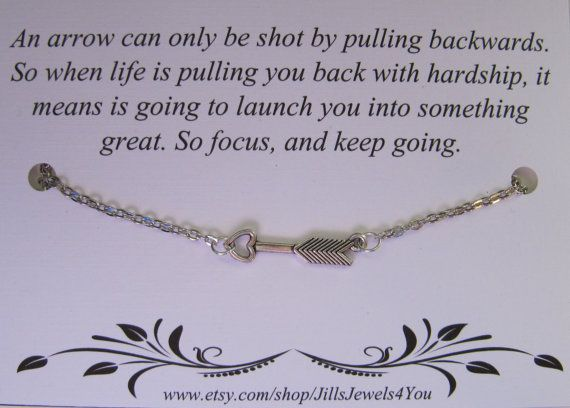 This is an arrow necklace with a silver plated chain, and lobster claw clasp. This comes with an inspirational message card and a box.    Give