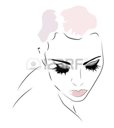 Vrouw gezicht. Illustratie van een meisje naar beneden  Dit gezicht heb ik gebruikt om mijn tekening te maken