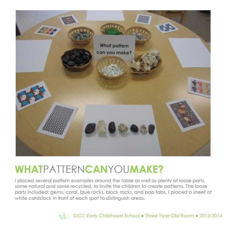 Patterns. Three Year Old Classroom. Hundred Languages. Loose Parts Provocation. Constructivism.