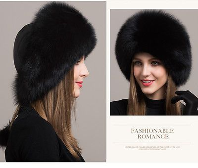 Women-Real-Black-Fox-Fur-Hat-Russian-Winter-Warmer-Ear-Cap-Ushanka-Cossack-Ski