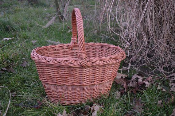 Handwoven Wicker Basket Handmade Willow Picnic by WillowSouvenir