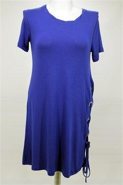 Kısa Kollu Saks Mavi Elbise