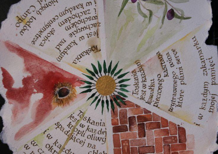 With poem by Monika Zawadzka:  Toskania jest w każdej kropli oliwy spadającej na chleb i w każdym jego okruchu w czerwieni pomidoróww rdzawej posadzce zapomnianego klasztoru.  Toskania jest w każdym kawałku pieczonego kasztana wytrawnego wina, które plami serce i w każdym zakamarku mojej pamięci.  Toskania jest w każdym zachwycie nad wschodem i zachodem słońca i w każdym centymetrze moich ulubionych lodów na Piazza del Campo