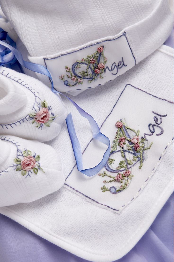 Ribbon embroidery bedspread designs - Ribbon Embroidery Bib And Booties