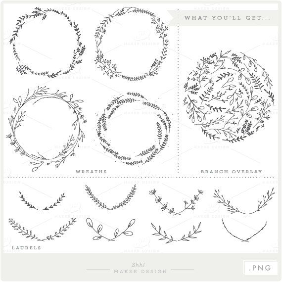 Branches Wreaths & Laurels Bundle PNG Files by ShhMakerDesign