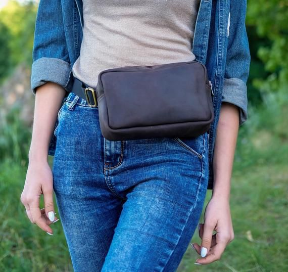 f4d0eedb140a Leather Square Fanny Pack, Bum Bag rectangle, Vintage Fanny Pack ...
