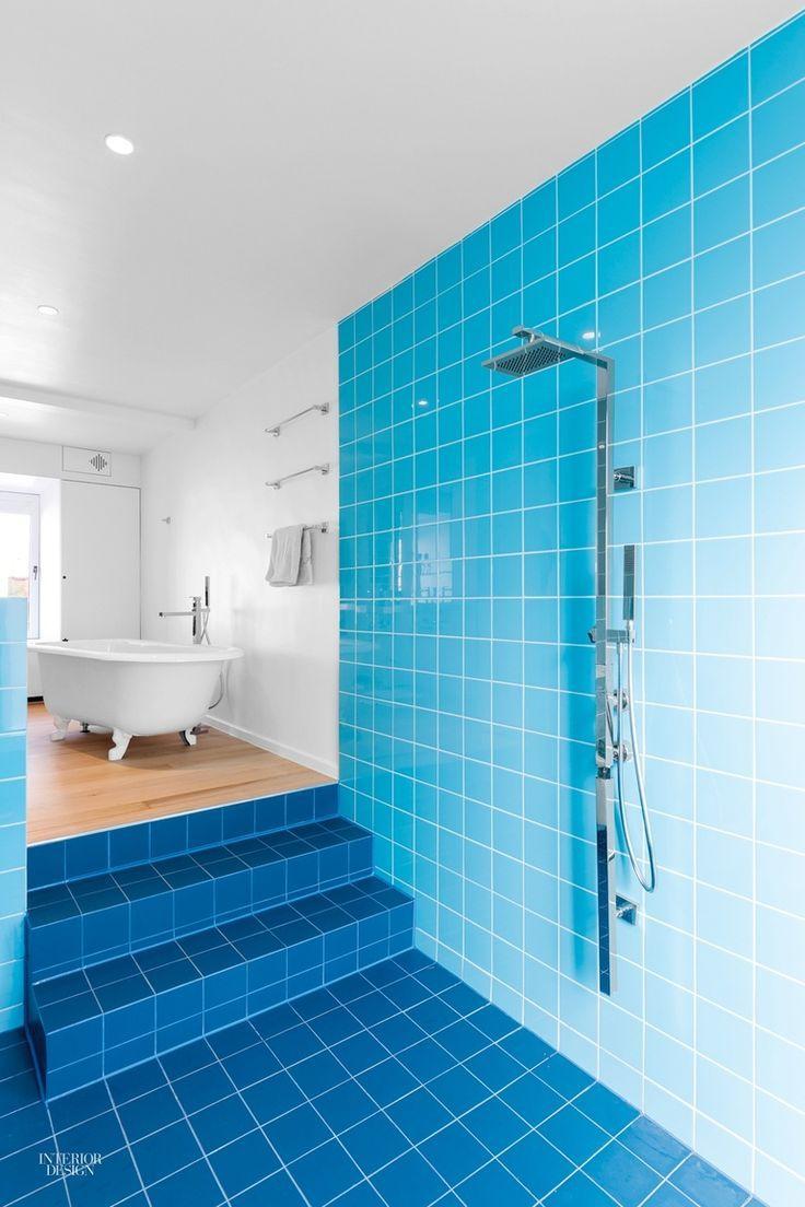 Light blue tiles bathroom - 5 Kitchens And Baths Display Texture And Taste