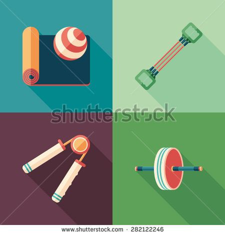 Fitness and pilates flat square icons with long shadows. #sport #sporticons #flaticons #vectoricons #flatdesign
