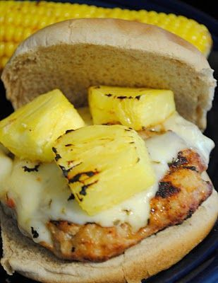 Summer meal - Spicy Hawaiian chicken burgers with pepperjack cheese and grilled pineapple, whole wheat bun.
