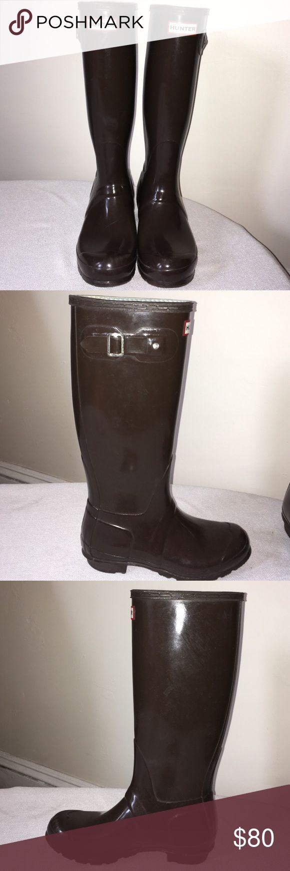 Tall Brown Hunter Rain Boots Brown original gloss tall Hunter rain boots. Hunter Boots Shoes Winter & Rain Boots