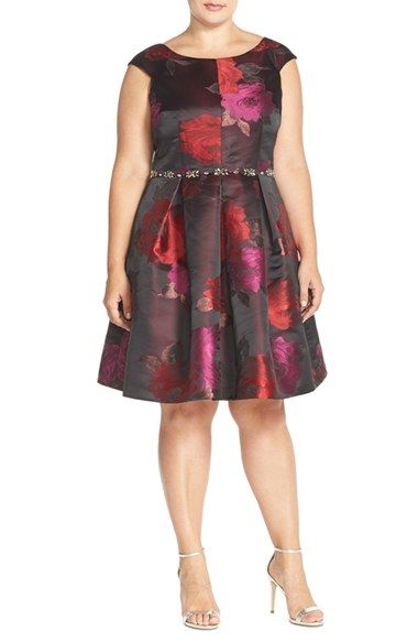 Eliza J Embellished Metallic Jacquard Fit & Flare Dress (Plus Size) available at #Nordstrom