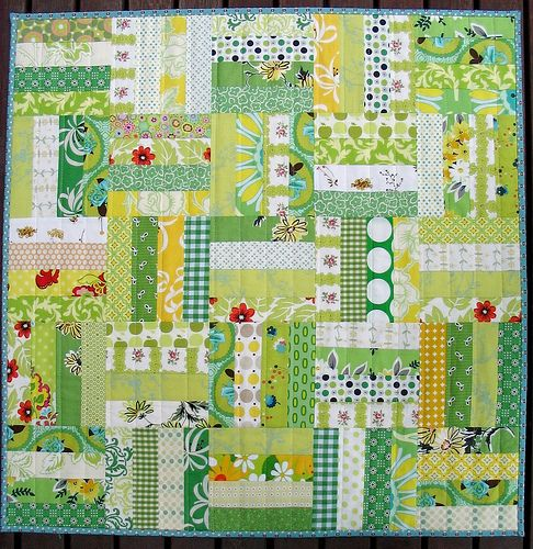 """Red Pepper Quilts: Green and Yellow Spring Quilt - 30.5"""" x 30.5"""", made of 2"""" cut strips, 6"""" square finished blocks"""
