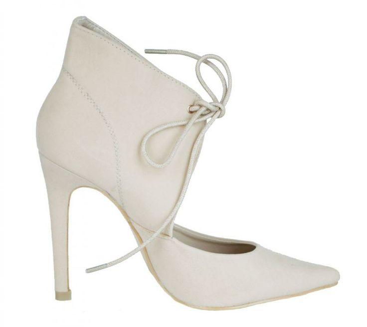 Pantofi Dama Lace Beige  -Pantofi dama  -Toc 11cm  -Imbraca glezna  -Se inchid cu siret in fata