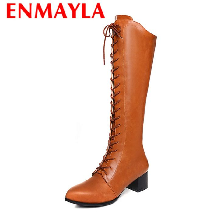 Find More Women's Boots Information about ENMAYLA Fashion Winter Warm Long Boots for Women 2 Color Mid Calf Zip Charm Pointed Toe Square High Heels Solid Female Shoes,High Quality boot height,China shoes boots girls Suppliers, Cheap boot shoe tree from Chengdu Ying Meier Shoes CO., LIMITED on Aliexpress.com