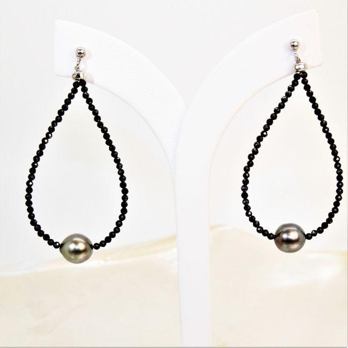 Oorbellen met fijne natuurlijke faceted zwarte spinel stones en ovale kralen uit Tahiti Ø 8 x 9 mm.  EUR 1.00  Meer informatie