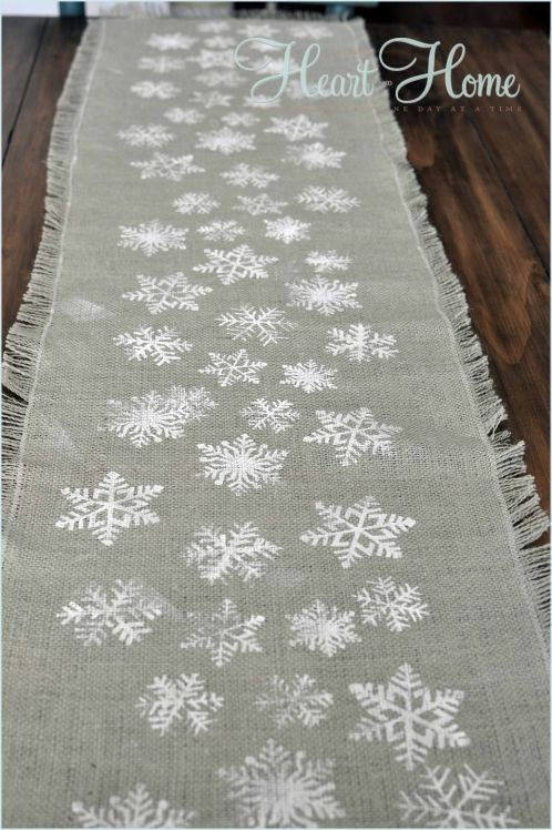 Stenciled Pillows & Table Runner » All Things Heart and Home...burlap cut to size and fringe the edges, add snowflakes with craft paint.