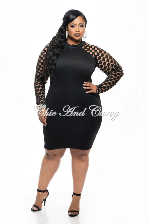 New plus size bodycon with cutout long sleeve design in black 1x 2x 3x curvy gal with style - Diva style fashion ...