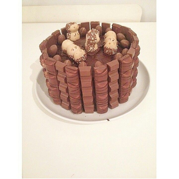 My Homemade Bueno Cake for Jakes Birthday. Four tear melted kinder egg cake…