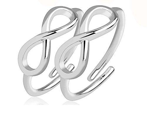 Juego de 2 anillos de pie en metal plateado - infinito - ajustable