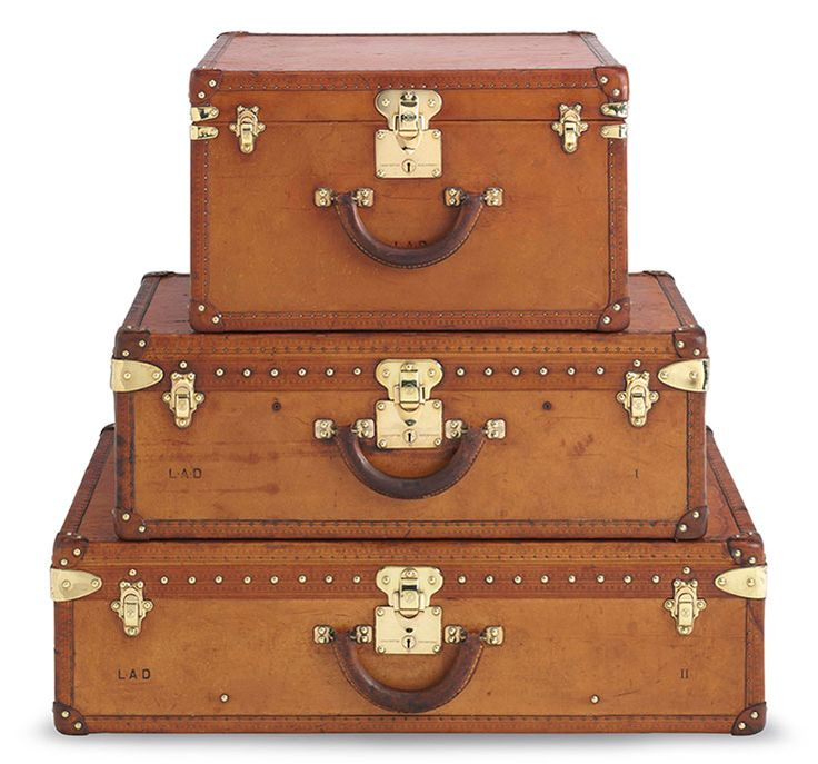 vintage luggage. louis vuitton, a set of three natural vachetta leather hardsided suitcases. find this piece and other trunks travel bags in christie\u0027s handbag shop. vintage luggage d