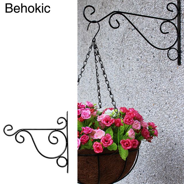 Behokic Metal Plant Hanger Bracket Wall Hanging Plants Hook for Garden Planters Birdcage Lantern Flower Pot Balcony Decoration