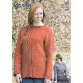 Wendy 5911 Tunic and Sweater in Wendy Cairn Aran (#4) weight yarn. For adults in several sizes.