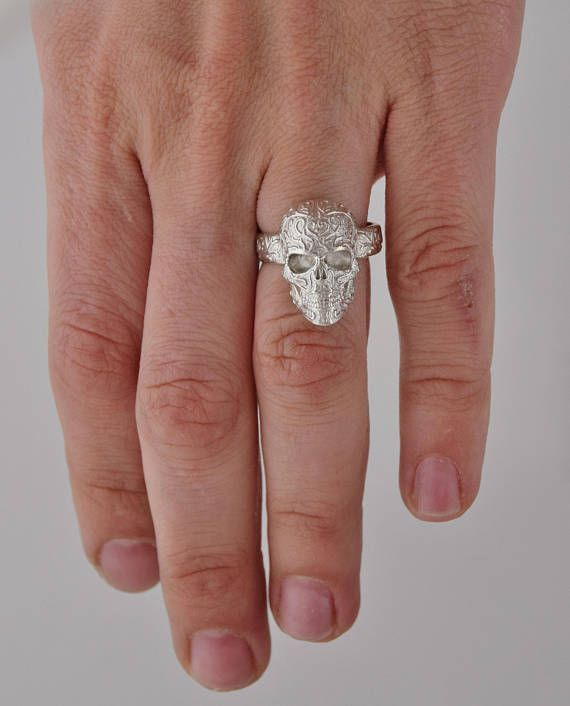 Sterling Silver Skull Ring - ALL RING SIZES AVAILABLE! High detailed 3D jewelry work.