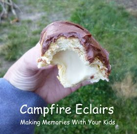 Making Memories ... One Fun Thing After Another: Campfire Eclairs Cresant rolls, pudding cups,chocolate frosting