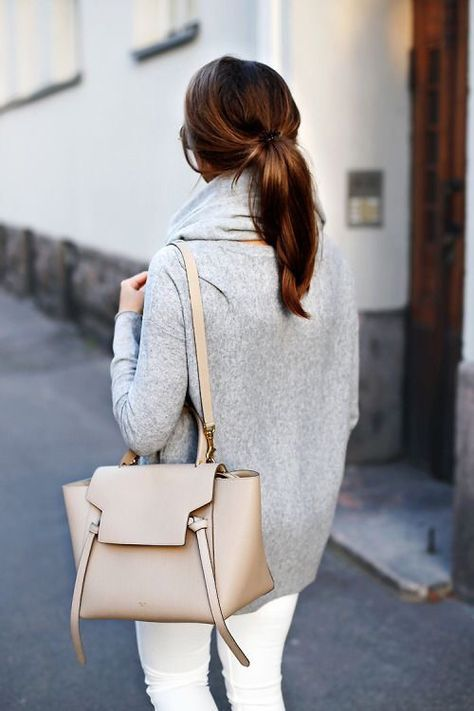 Minimalist + chic. Celine bag, gray sweater, scarf, sunglasses,... everything about this picture..