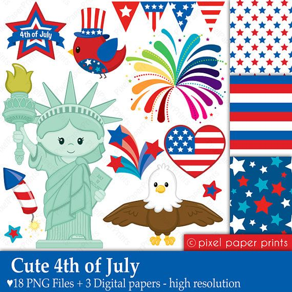 Cute 4th of July  Digital paper and clip art by pixelpaperprints, $6.00