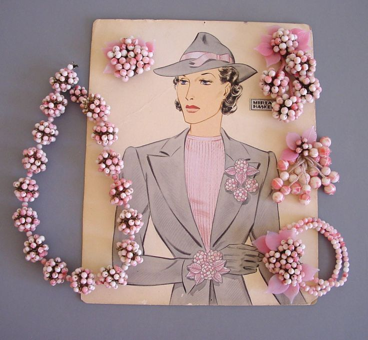 Miriam Haskell Jewelry circa 1940 Frank Hess designed necklace, bracelet, and three clips jewelry parure with original illustration art work by Larry Austin