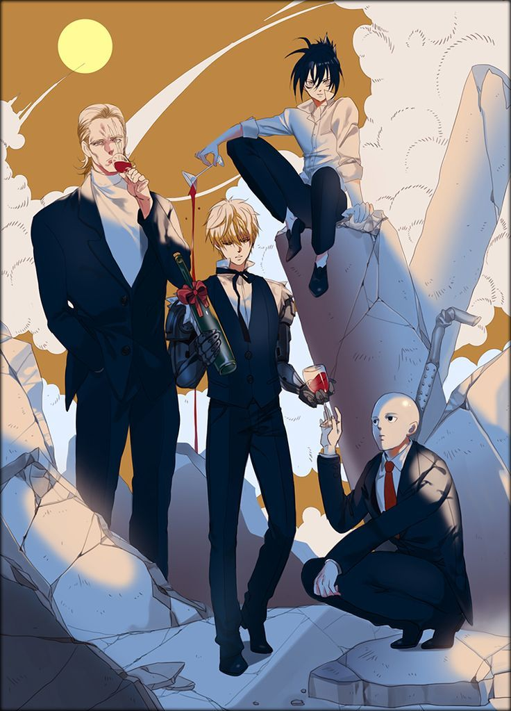 One Punch Man, Fan Art, Onsoku no Sonic, Saitama, Genos, King
