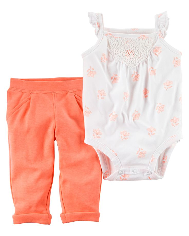 Baby Girl 2-Piece Neon Bodysuit Pant Set Crafted in bright neon, this 2-piece set keeps her cute and comfy for all-day play.