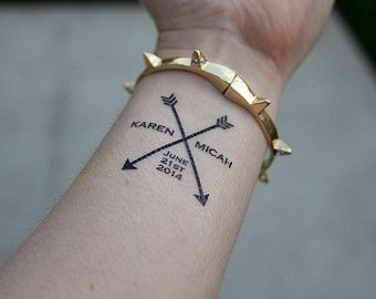 Arrow Wedding Temporary Tattoos- custom wedding tattoo- Pack of 15 tattoos