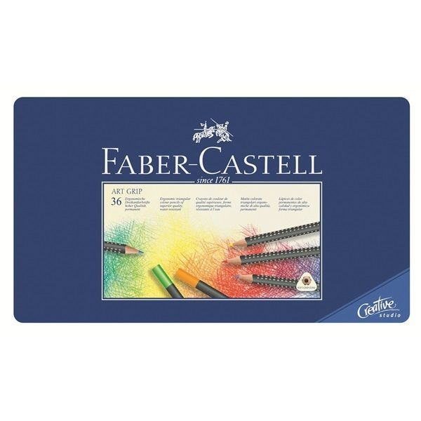 Faber-Castell Colour Pencil Art Grip Tin of 36 Colors Waterproof Non-smudge #FaberCastell