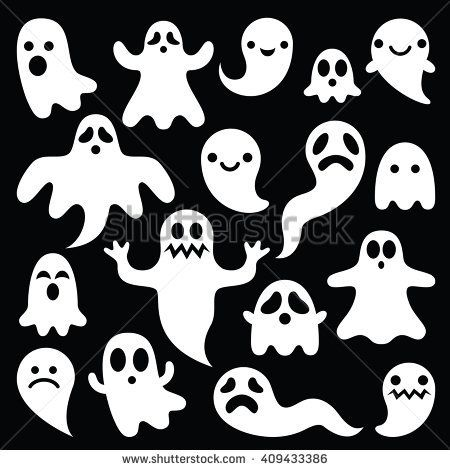 Scary white ghosts design on black background - Halloween celebration by RedKoala #trickortreat